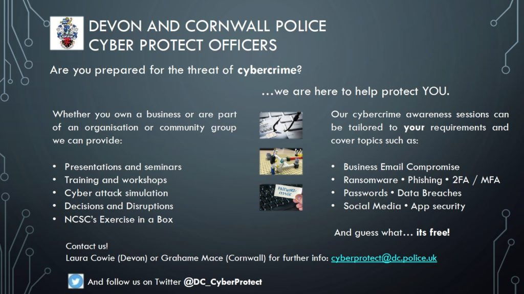 Devon and Cornwall Police - Information about Cyber Security