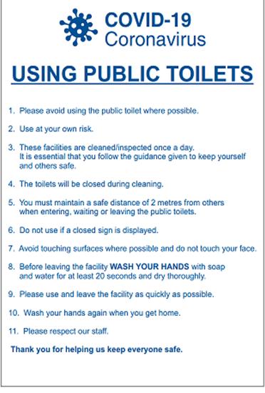 Covid-19 Using Public Toilets Notice